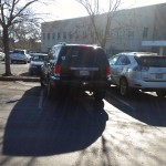 This Chevy Aspen, plate #6HCZ519 cannot seem to straighten himself out, and instead is diagonal, making it awkward for anyone to park next to him.
